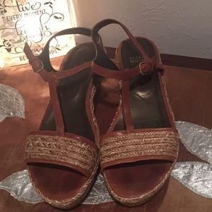 Stuart Weitzman Woven Wedge Heel Sandals